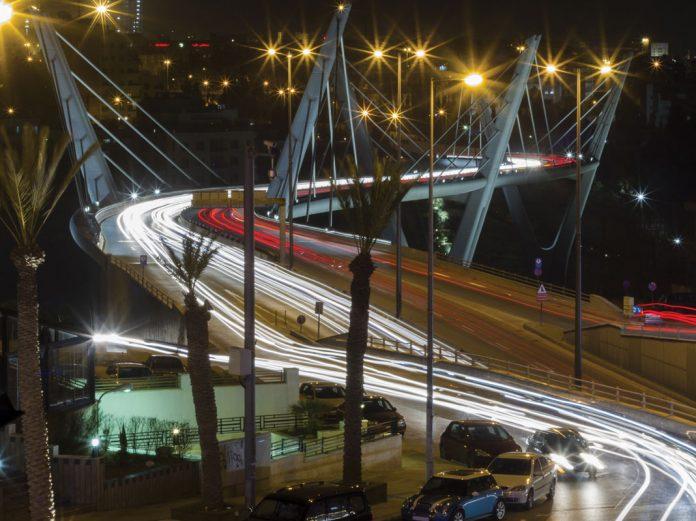 Jordan's highways bridge at night